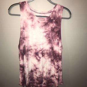 Pink and white ty-dye tank